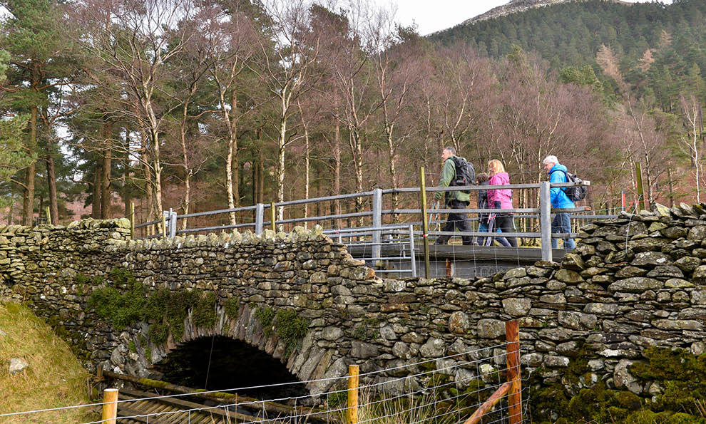 People crossing bridge at Thirlmere
